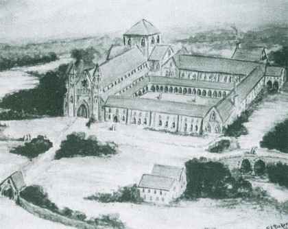 Artists impression of the Cistercian Monastry at Merevale